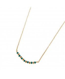 COLLIER PL-OR BEADS TURQUOISES ALTERN