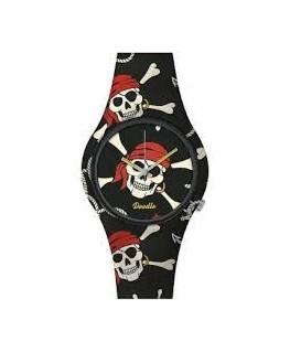 Montre DOODLE Noire Crâne Pirate