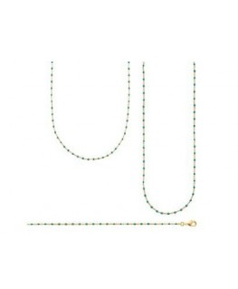 Bracelet Plaqué Or Email Perle Verte
