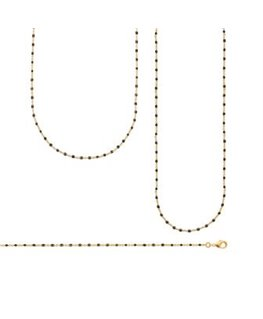 Sautoir Plaqué Or Email Perle Noire
