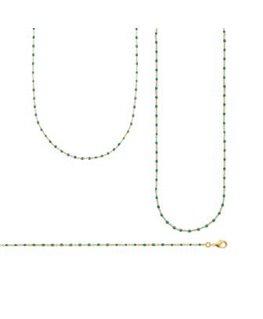 Sautoir Plaqué Or Email Perle Verte