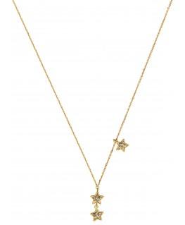 Collier Or Jaune 375 Étoile Pailletée