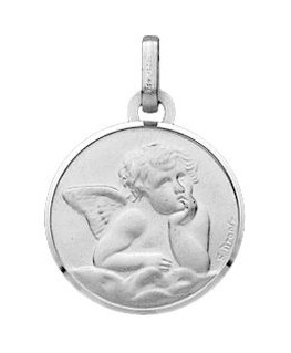 Médaille Or Gris 750/1000 Ange