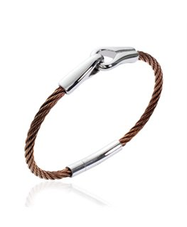 Bracelet homme acier cable marron