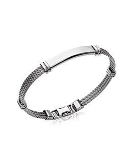Bracelet homme jonc acier et câble