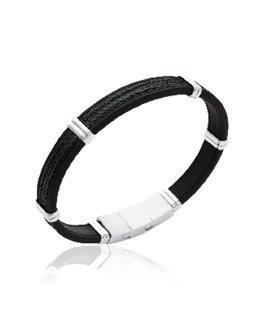Bracelet homme acier câble noir