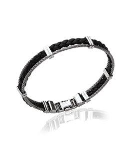 Bracelet homme acier cuir noir et câble
