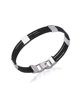 Bracelet homme acier câbles noir