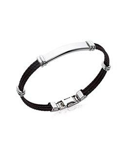 Bracelet jonc homme acier et câbles noir