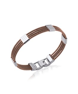 Bracelet jonc homme acier et câbles marron