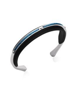 Bracelet acier demi jonc homme PVD bleu cuir
