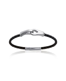 Bracelet homme acier et cuir noir