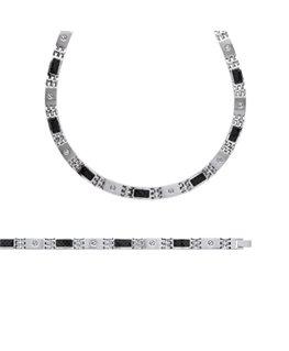 Bracelet homme acier et carbone noir