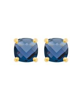 Boucles plaqué or pierres bleues