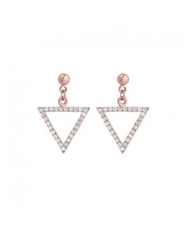 Boucles plaqué or rose triangle