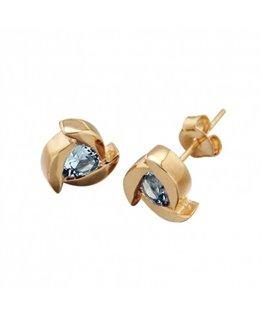 Boucles plaqué or cristal bleu