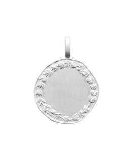 Pendentif Argent Rhodié Médaille Couronne Laurier