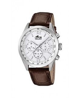 Montre LOTUS Homme Cuir Marron Chrono Blanc