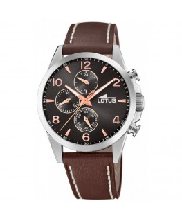 Montre LOTUS Homme Cuir Marron Chrono Noir