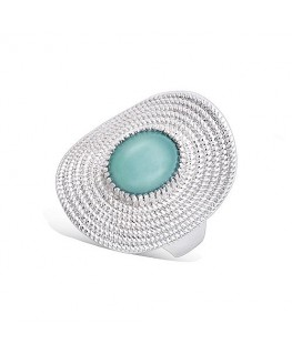 BAGUE ARGENT RHODIE FORME OVALE COUL-AMA
