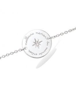 Bracelet Argent Rhodié Pastille Meilleur Maman