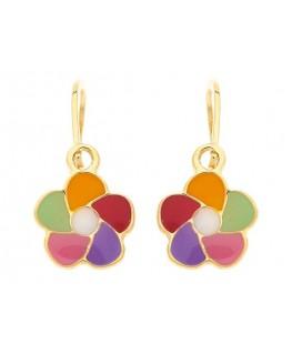 Boucles Or Jaune 375 Fleur Multicolores