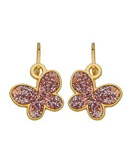 Boucles Or 375 Papillon Rose