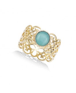 Bague Plaqué Or Filigrane Amazonite