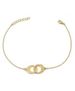 Bracelet Plaqué Or Cercles Menottes Zirconium