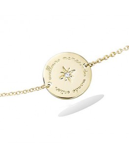 Bracelet Plaqué Or Médaille Maman Zirconium