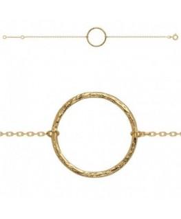 Bracelet Plaqué Or Cercle Martelé