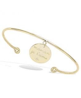 Bracelet Plaqué Or Jonc Maman Je T'aime