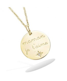 Pendentif Plaqué Or Médaille Maman Zirconium
