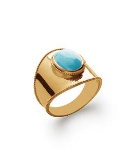 Bague plaqué or pierre synthétique bleue