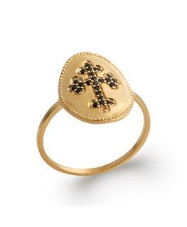Bague plaqué or avec une croix en pierres synthétiques noires