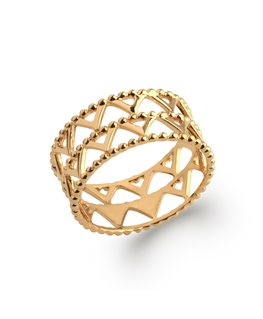 Bague plaqué or avec motifs triangles
