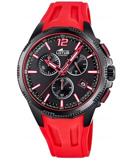Montre LOTUS Chrono Noir Bracelet Rouge
