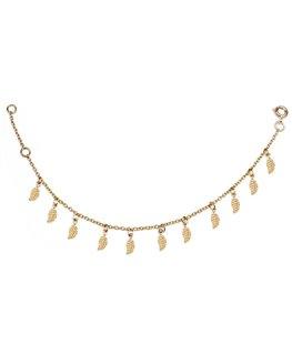 Bracelet dame plaqué or et motifs feuilles