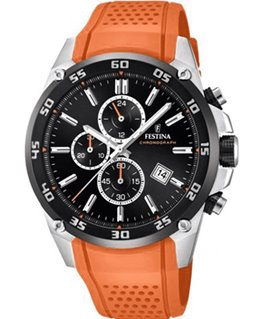 Montre FESTINA Homme Chrono Bracelet Orange Fond Noir