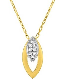 Collier Or Jaune Blanc 750 Ovale Diamant
