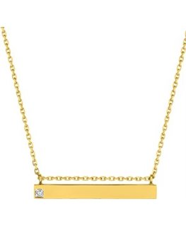 Collier Or Jaune 750 Plaque Diamant