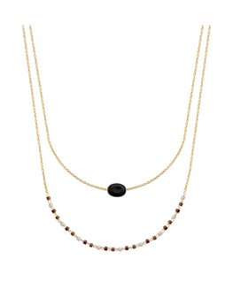 COLLIER PLQUE OR AGATE NOIRE