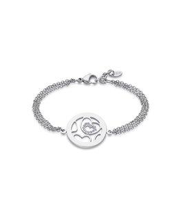 Bracelet LOTUS Femme Acier Forçat Coeur Zirconium