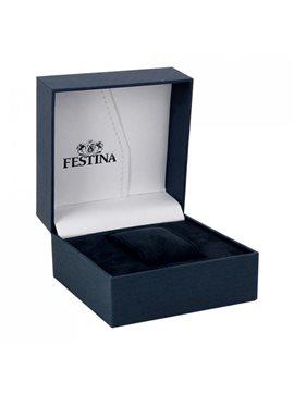 Montre FESTINA Homme Chrono Bracelet Cuir Noir Fond Argenté
