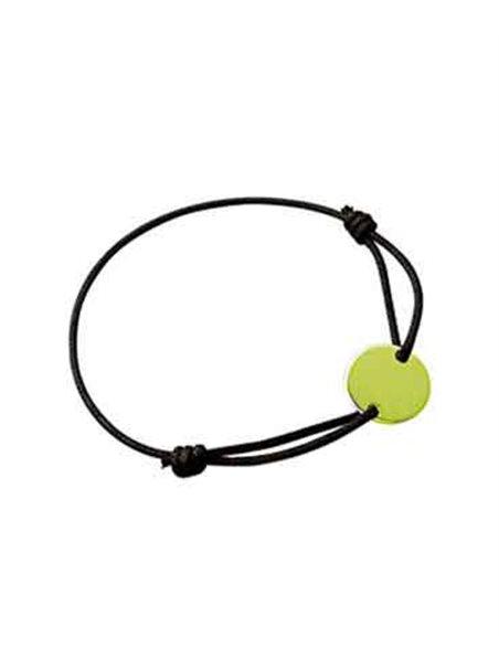 Bracelet Plaqué Or cordon noir et plaque ronde Gravure Offerte !