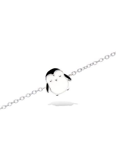 Bracelet Argent Rhodié enfant pingouin émail