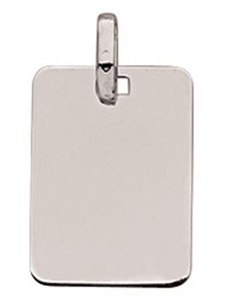 Pendentif plaque rectangulaire or gris 750/000