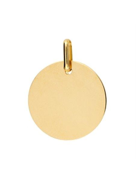 Pendentif plaque ronde or jaune 750/000