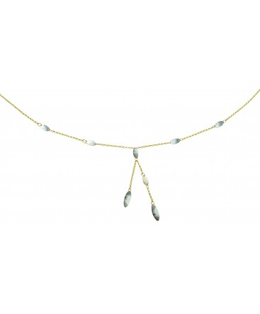 Collier Or Jaune 375-000 Y 2 Brins Pendants Gouttes