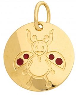 Pendentif Médaille Or Jaune 375-000 Signe du Zodiaque Coccinelle Verseau